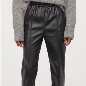 Faux Leather H&M High-Rise Straight-Leg Pants